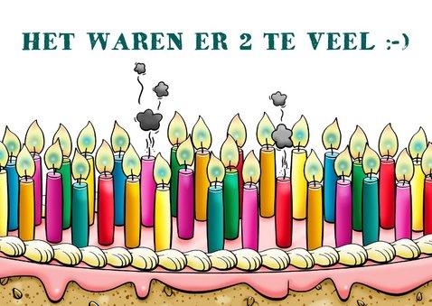 Grappige verjaardagskaart met ontelbare kaarsjes op taart 3