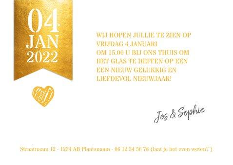 Grote foto met gouden label nieuwjaarskaart 3