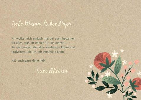 Grußkarte Dankeschön Blumen auf Kraftpapier 3