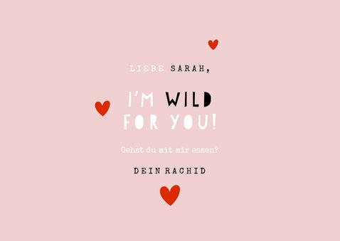 Grußkarte Liebe 'I'm wild for you' mit Panther 3