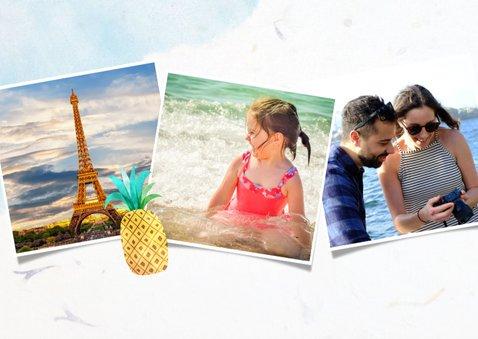 Grußkarte Urlaub mit Foto, Wegweiser und Eis im Aquarelllook 2