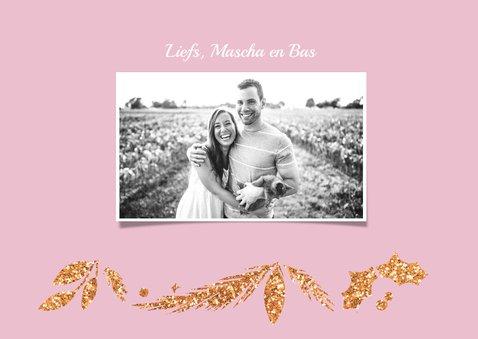 Happy Holidays roze met foto 3
