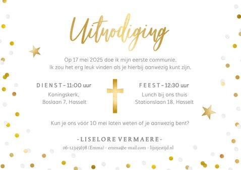 Hippe communie uitnodigingskaart met eigen foto en confetti 3