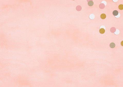 Hippe felicitatiekaart geboorte meisje roze met confetti 2