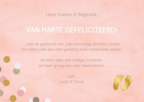 Hippe felicitatiekaart geboorte meisje roze met confetti 3
