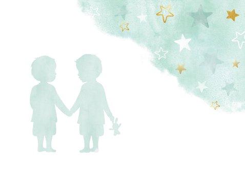 Hippe felicitatiekaart geboorte tweeling waterverf sterren 2