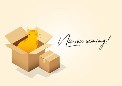 Hippe felicitatiekaart 'Nieuwe Woning' verhuisdozen en kat 2