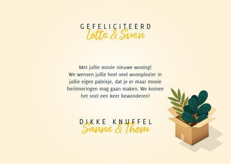 Hippe felicitatiekaart 'Nieuwe Woning' verhuisdozen en kat 3