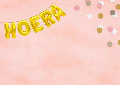 Hippe felicitatiekaart woop-woop nieuwe baan roze confetti 2