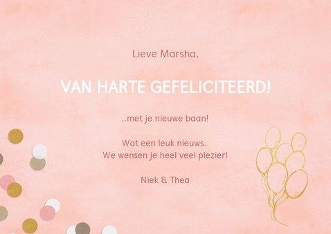 Hippe felicitatiekaart woop-woop nieuwe baan roze confetti 3