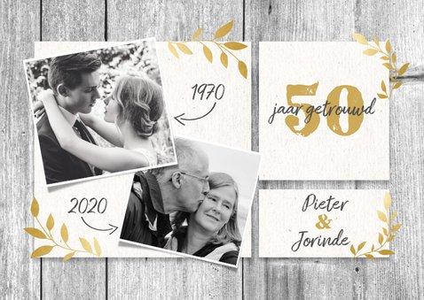 Hippe jubileumkaart 50 jaar met hout, gouden takjes & foto's 2