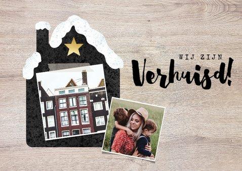 Hippe Kerst-verhuiskaart met huisje met sneeuw, foto en hout 2