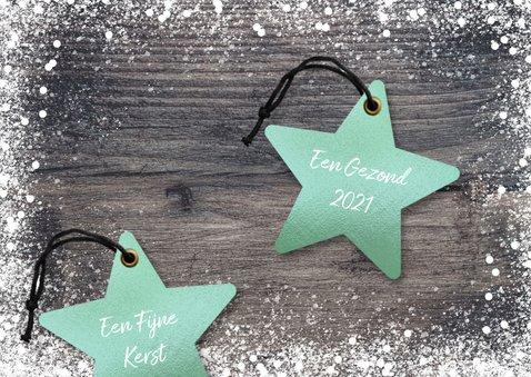 Hippe kerstkaart kerst ster op hout mint groen 2