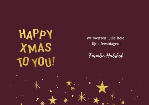 Hippe kerstkaart met gouden typografie, sterren en foto 3