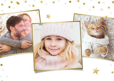 Hippe kerstkaart met grote eigen foto en sneeuw kader rondom 2