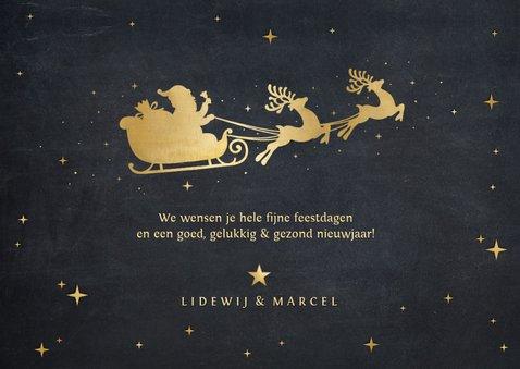 Hippe kerstkaart met sierlijke gouden tekst merry christmas 3