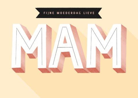 Hippe moederdag kaart typografie mam en banners 2