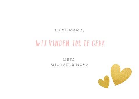 Hippe moederdagkaart met foto, handlettering & hartjes kader 3
