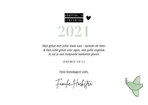 Hippe nieuwjaarskaart duifje liefdevol & hoopvol 2021 3