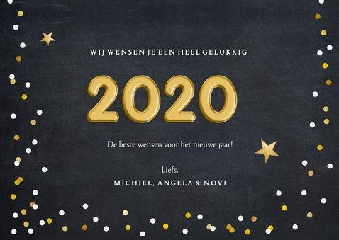 Hippe nieuwjaarskaart met confetti en folieballon 2020 3