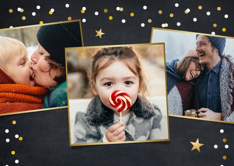 Hippe nieuwjaarskaart met confetti en folieballon 2021 2