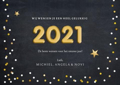 Hippe nieuwjaarskaart met confetti en folieballon 2021 3