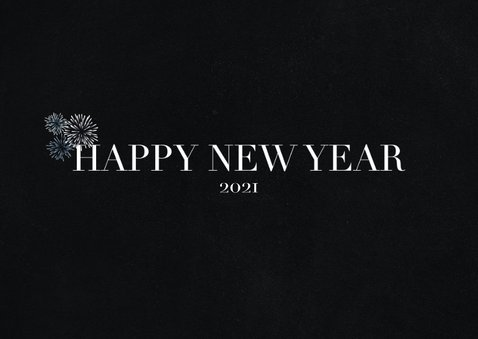 Hippe nieuwjaarskaart met grote foto en happy newyear 2