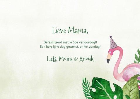 Hippe  tropische jungle verjaardagskaart flamingo en toekan 3
