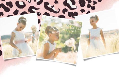 Hippe uitnodiging eerste communie - roze panterprint 2