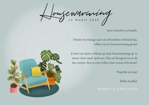 Hippe uitnodiging housewarming met planten, stoel en foto 3