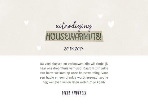Hippe uitnodiging housewarming met plantje, foto's & hartjes 3