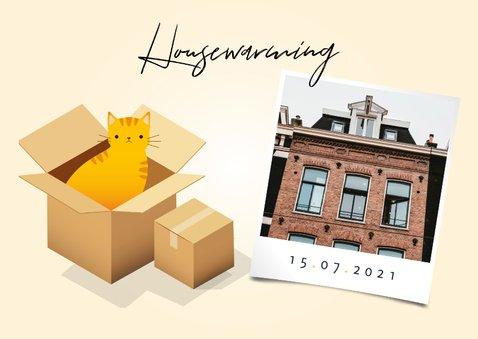 Hippe uitnodiging housewarming verhuisdozen, planten en kat 2
