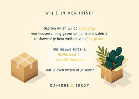 Hippe uitnodiging housewarming verhuisdozen, planten en kat 3