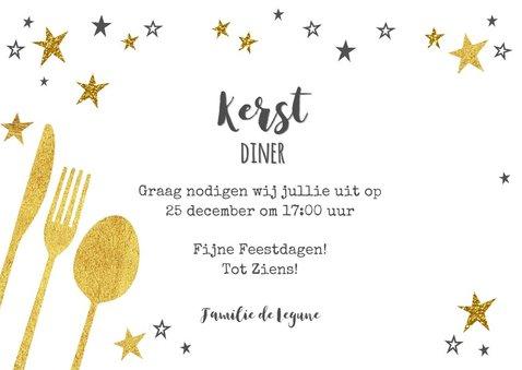 Hippe uitnodiging (kerst) diner goud sterren en bestek 3