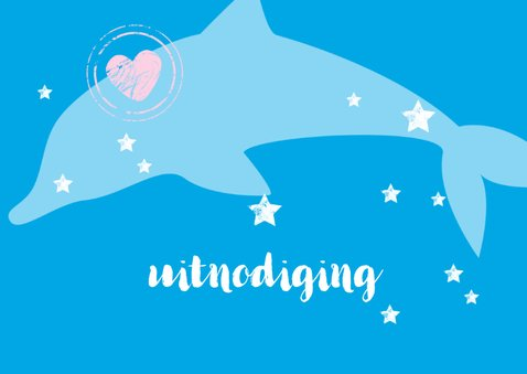 Hippe uitnodiging met een dolfijntje 2