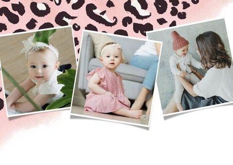 Hippe uitnodiging verjaardag kind met roze luipaard patroon 2