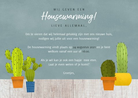Hippe uitnodiging voor een housewarming met cactussen & hout 3
