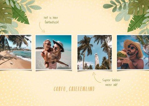 Hippe vakantiekaart fotocollage junglebladeren vakantiegroet 2