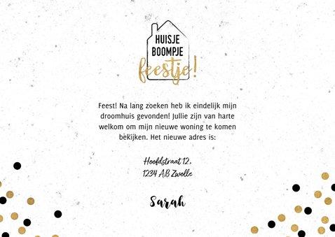 Hippe verhuiskaart met huisje boompje feestje en foto 3