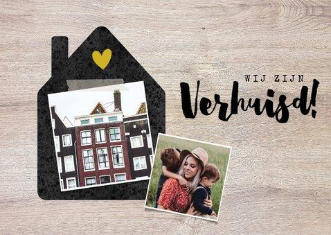 Hippe verhuiskaart met huisje, foto's en hout 2