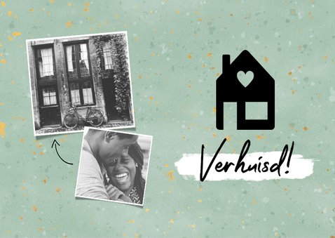 Hippe verhuiskaart met huisje, verf, spikkels en foto's 2