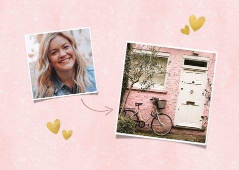 Hippe verhuiskaart met panterprint huisje, foto en hartjes 2