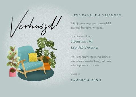 Hippe verhuiskaart met planten, stoel en foto's 3
