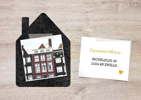 Hippe verhuiskaart 'samenwonen' met huisjes, foto's & hartje 2