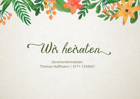 Hochzeitseinladung Vintage Blumen Timeline 2