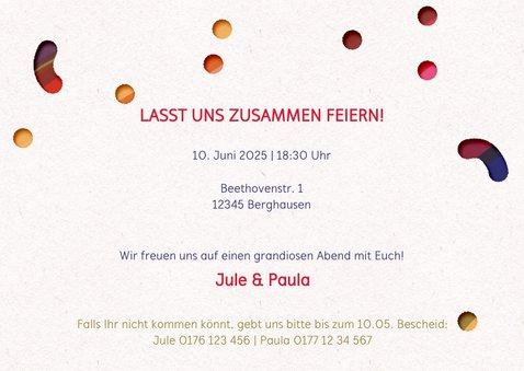 Hurra Einladungskarte Regenbogen Konfetti 3