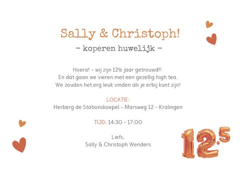 Huwelijksjubileum 12,5 jaar - Fotocollage uitnodiging koper 3