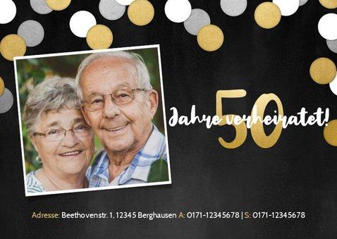 Jubiläumskarte Goldene Hochzeit Fotos und Konfetti 2