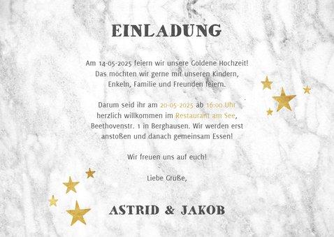 Jubiläumskarte Goldene Hochzeit Marmorlook & Fotos 3