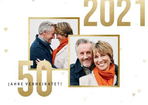 Jubiläumskarte Goldene Hochzeit mit Fotos & Herzen 2